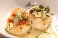 Lite Fare- Grilled Scallops with Capers and White Wine.